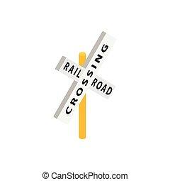 cruzamento, isometric, trem, estrada, ícone