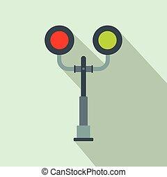 cruzamento, luz, estrada ferro, apartamento, ícone