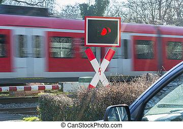 cruzamento, passageiro, trânsito, trem, ferrovia