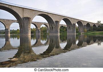 cruzamento, pontes, pedra, rio, ardeche