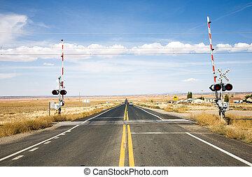 cruzamento, portões, ferrovia