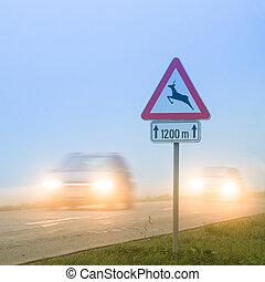 cruzamento, roadsign, veado