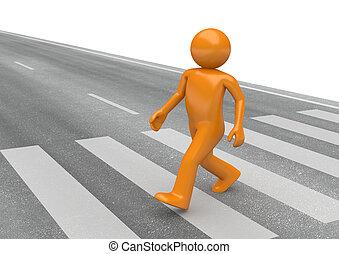 cruzamento, rua peão, -, cobrança