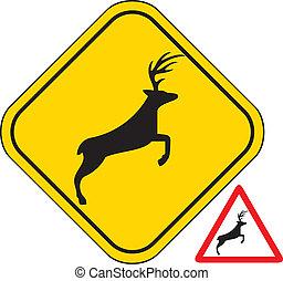cruzamento, veado, sinal., aviso, tráfego