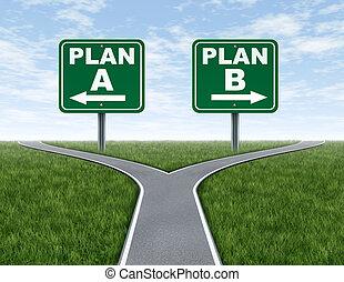 cruze estradas, com, plano, um, plano, b, sinais estrada