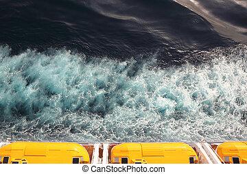 cruzeiro, amarela, telhado, acima, fuga, barcos, navio, vista