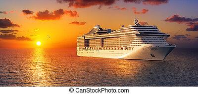 cruzeiro, oceano ocaso