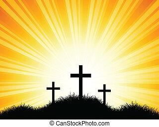 cruzes, contra, céu ocaso