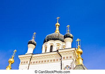 cruzes, e, cúpulas, de, foros, igreja