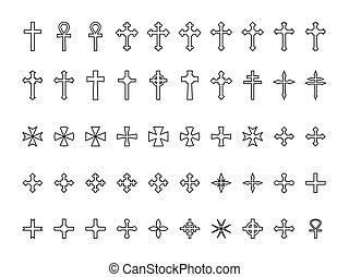 cruzes, grande, isolado, cobrança, contornos, fundo, branca