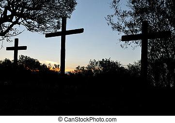 cruzes, silueta, três