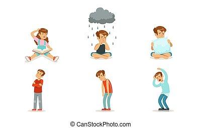 cry., ベクトル, 子供, 悲しい, illustrations., セット
