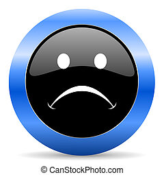 cry blue glossy icon
