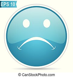 Cry blue glossy round vector icon in eps 10. Editable modern design internet button on white background.
