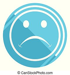 Cry flat design blue web icon, easy to edit vector illustration for webdesign and mobile applications