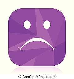 Cry flat vector icon. Sad violet web button. Emoticon internet square sign. Vote modern design symbol in eps 10.