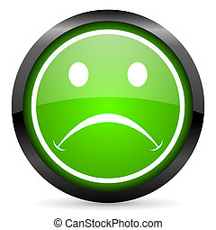 cry green glossy icon on white background