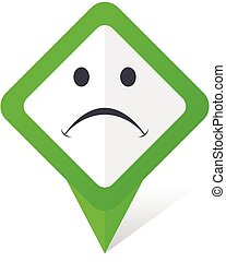 Cry green square pointer vector icon in eps 10 on white background with shadow.