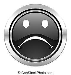 cry icon, black chrome button