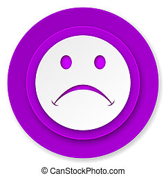 cry icon, violet button