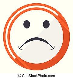 Cry orange flat design vector web icon