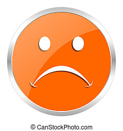 cry orange glossy icon