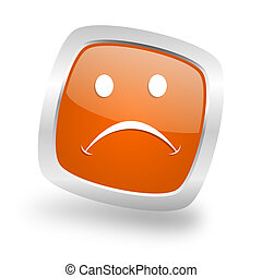 cry square orange glossy chrome silver metallic web icon