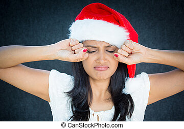 Crybaby - Closeup portrait, cute christmas woman in red...