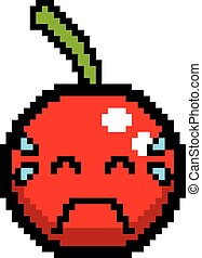 Crying 8-Bit Cartoon Cherry - An illustration of a cherry...