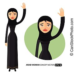 Crying arab business woman waving hand goodbye cartoon vector isolated on white