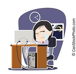 Crying asian businesswoman working illustration design
