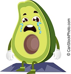 Crying avocado, illustration, vector on white background.