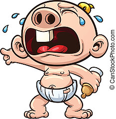 Crying baby - Cartoon baby crying. Vector clip art...