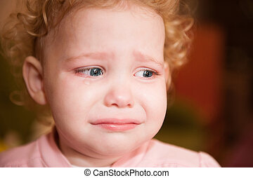Crying baby face closeup - Curly haired blonde baby crying. ...