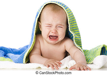 Crying Baby - Freshly bathed baby isolated on white