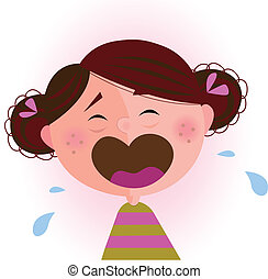 Crying small child. Vector cartoon illustration of cute crying baby girl.