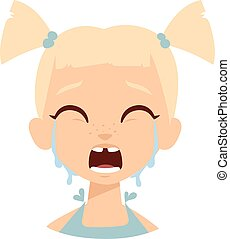Crying baby girl vector illustration.