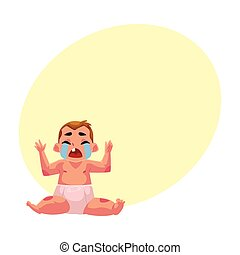 Crying baby kid, infant, child in diaper, front view portrait