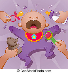 Crying baby - Vector illustration of crying baby. EPS 8, AI,...