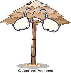 Crying beach shelter under the umbrella cartoon vector...