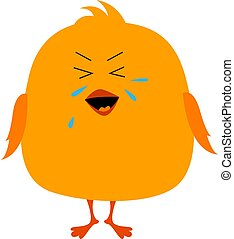 Crying bird, illustration, vector on white background.