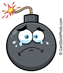 Crying Bomb Face Cartoon Mascot Character With Tears