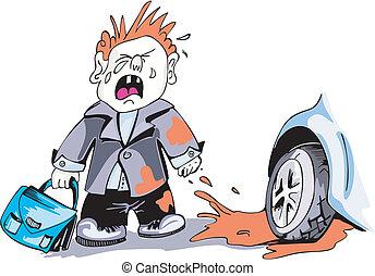 Crying boy and car wheel. Cartoon. Color vector illustration
