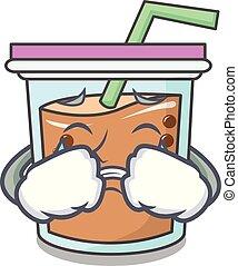 Crying bubble tea mascot cartoon