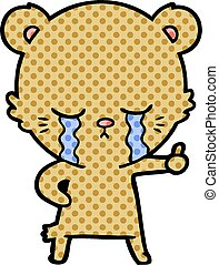 crying cartoon bear giving thumbs up
