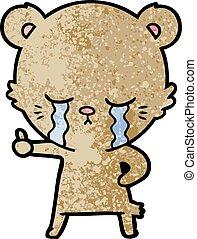crying cartoon bear giving thumbs up