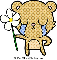 crying cartoon bear with flower