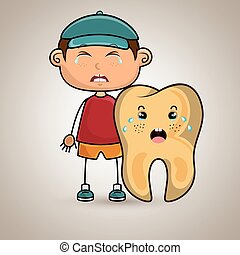 crying cartoon boy and tooth for a toothache