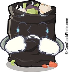 Crying cartoon garbage bag next to table vector illustration