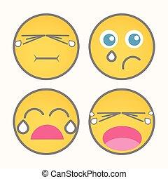 Crying Cartoon Smiley Set